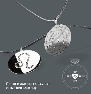 Gewinnspiel zum Jubiläum: Ein individuelles Silberamulett graviert mit Sternzeichen und Worten. Von Ruth Sellack Schmuckobjekte