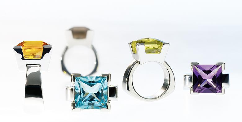 Solitaer-Ringe mit Aquamarin, Citrin aus Weissgold