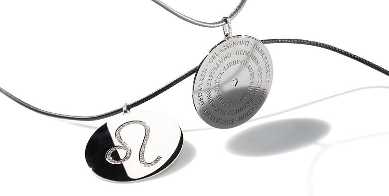 Wünsch dir was: Amulette mit persönlichem Sternzeich graviert oder mit Brillanten besetzt, in Silber oder Gold, pur oder mit Hippy-Rings