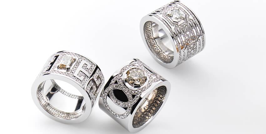 Edle Ringe, Unikate in Weissgold mit Brillanten und Diamanten von Ruth Sellack Schmuckobjekte