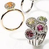 Jubiläums-Ringkollektion »Aurora« Goldringe mit zentralem Edelstein und kleinen Brillanten