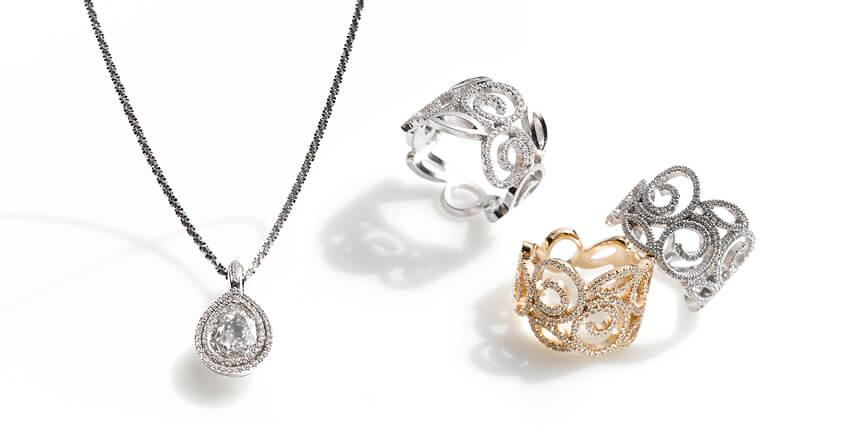 Villandry Anhänger mit tropfenförmigem Diamant und Ring in Weissgold, Brillanten