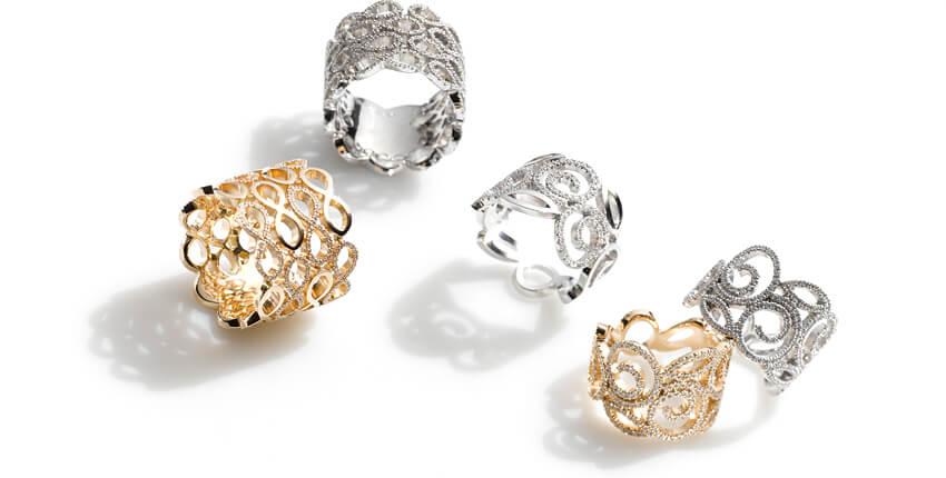 Kollektion Villandry Ringe gearbeitet in Roségold und Weissgold mit Brillanten