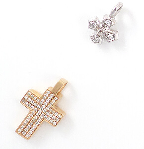 Schöne Geschenkideen zu Konfirmation, Kommunion oder andere besondere Anlässe. Edle, kleine Kreuze mit Edelsteinen besetzt und gefasst.