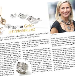 Ruth Sellack in der Presse: Top Magazin zu Ruth Sellack und Ihrer Nominierung zum German Design Award 2019