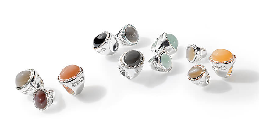 Caramella-Ringe mit Farbedelsteinen und Saphiren