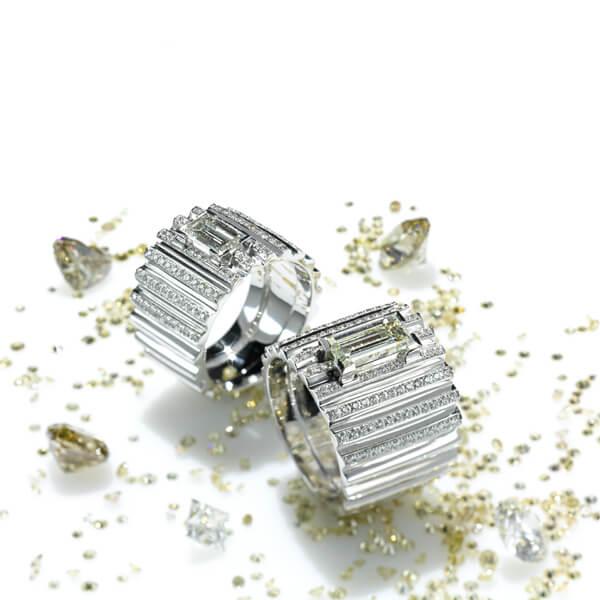 Conchiglia-Ringe mit Baguette-Diamant und Brillanten