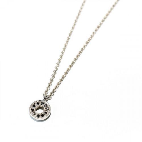 Kette mit Anhänger Hippy Ring in Weißgold mit 10 Diamanten