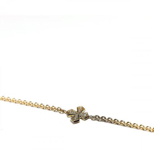 Armband Kreuz Kleeblatt, 750/- Roségold mit Diamant 0,08 Kt, gold bracelet Clover leaf with diamonds