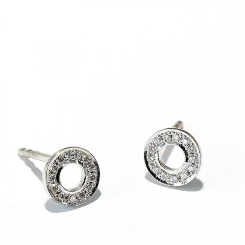 Hippy Ring XS Ohrstecker Weissgold 26 Brillanten