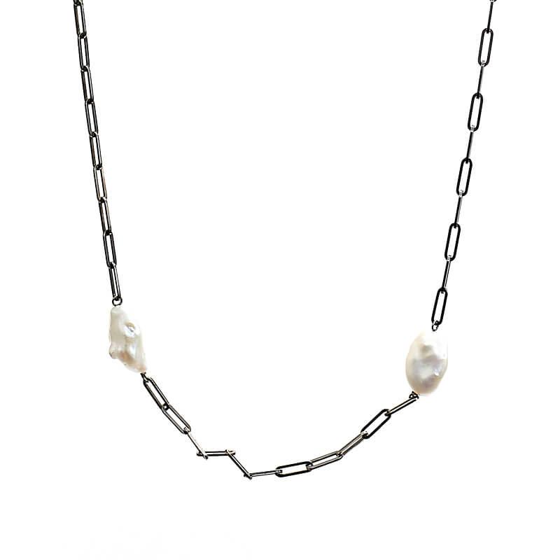 Detail Kette Twiggy Silber rhodiniert mit Süßwasserperlen